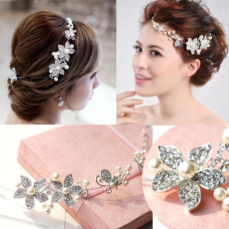 In Stock High Quality Gorgeous Pearl Diamondstudded Hair Jewelry