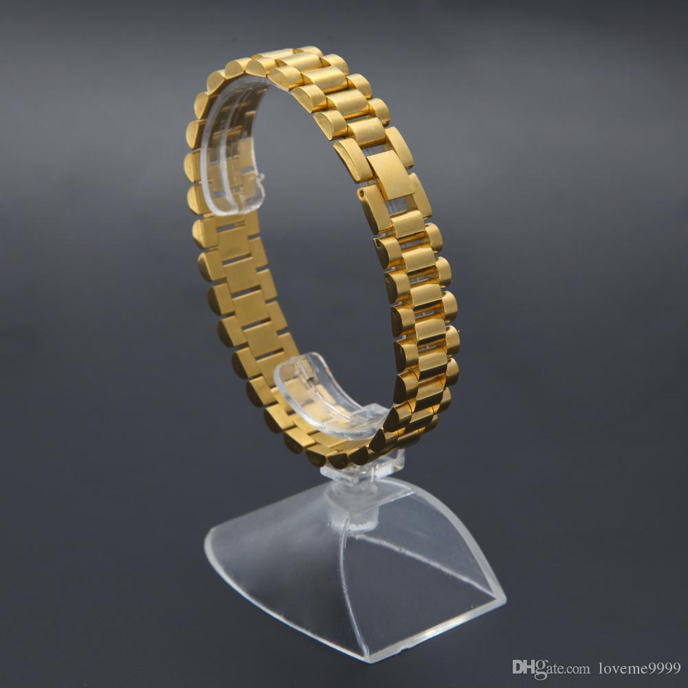 Großhandelspreis 24K Gold überzogene Vintage Hitg Qualität 316L Edelstahl gefüllt Armband Design Armband Männer Schmuck feine Armreif