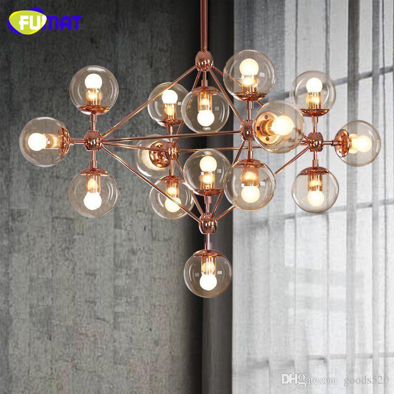 Fumat glass ball chandelier modern nordic luminaire lustre living room light rose gold body glass chandeliers led brass chandelier gold chandelier from