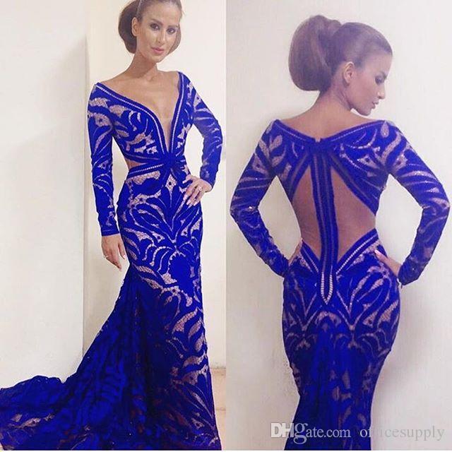 2017 Custom Made Royal Blue Mermaid Prom Dresses Sheer Deep V-Neck Long Sleeve Backless Floor Length Formal Red Carpet Evening Gowns