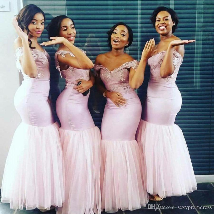 Südafrikanische helle Rosa Meerjungfrau Brautjungfer Kleider Sexy off Schulter Spitze Appliques Mädchen Ehrenkleid Gowns Hochzeit Gast Formale Parteikleid