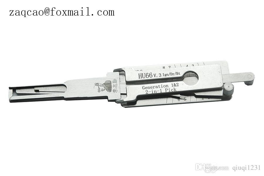 Genuine Lishi Lishi HU66 2 em 1 lock pick e decodificador para VW, Seat, Skoda, Audi, carro Porsche