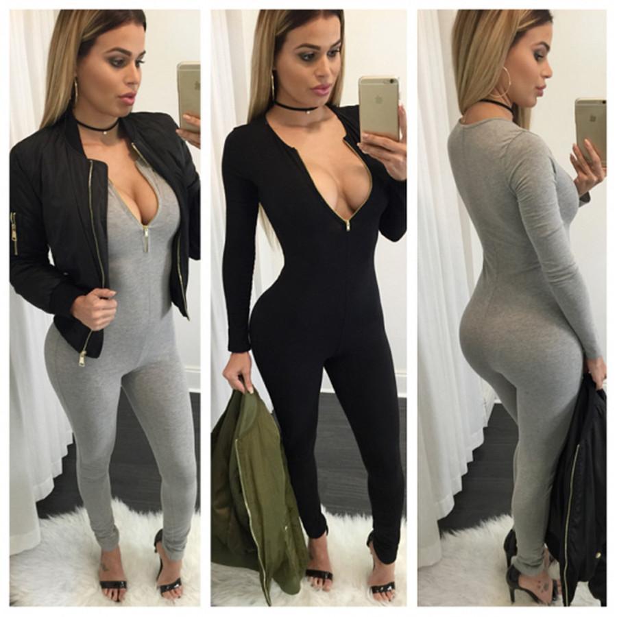 Zipper Sexy Club Deep V Jumpsuit 2017 Autumn Women Tight Tracksuits