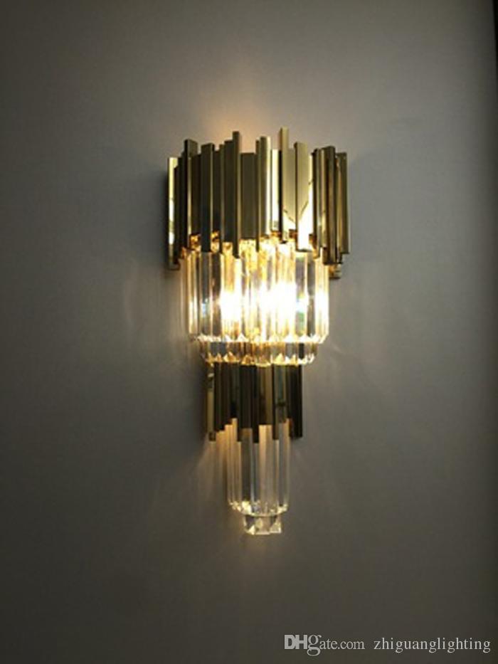 Postmodern wall lamp simple bedside lamp American style living room bedroom Nordic creative European aisle crystal wall lamp