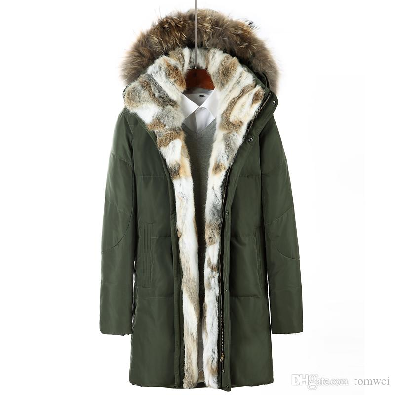 fce49ebc141 2019 Raccoon Fur Hood Down Parkas Winter Jacket Long Coats Mens Outwear  Overcoats Snow Jackets Warm Thickening Plus Size Clothing 2017 4XL 5XL From  Tomwei