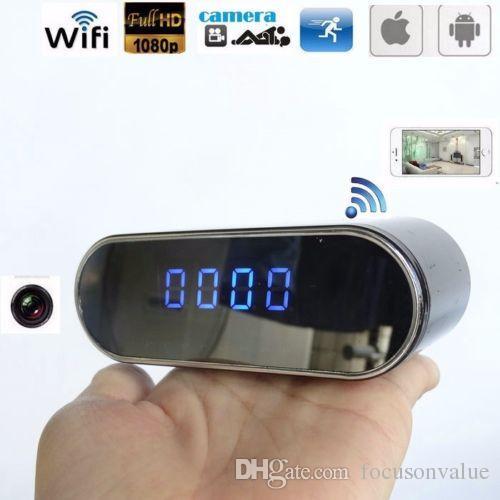 1080P WiFi P2P Orologio da tavolo IP Camera visione notturna 160 gradi Grandangolo sveglia digitale DVR Live View Monitor remoto Telecamera di sorveglianza