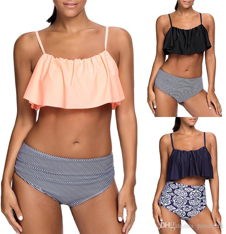 3f165d910a Women Plus Size Ruffles High Waisted Swimsuit Bikini Sets Bathing Suit  Clothing