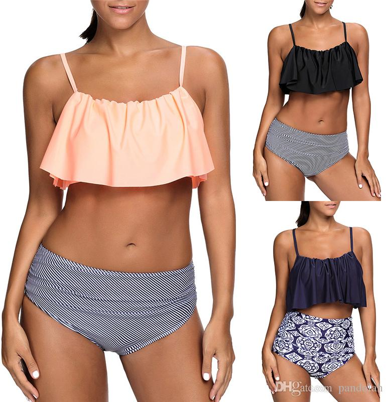 b5d6d1b3de 2019 2017 Sexy Women High Waist Bikini Set Ruffle Vintage Swimsuit Bandage  Striped Bottom Cute Bathing Suits Plus Size From Pandolah, $11.13 |  DHgate.Com