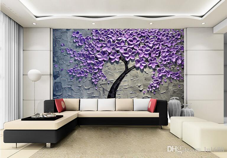 Elegant Customization Backgrounds 3d Wallpaper For Walls 3d Wallpaper Murals  Moisture Proof For Living Room Hand Painted Oil Painting Purple Pachira  Download ... Part 4