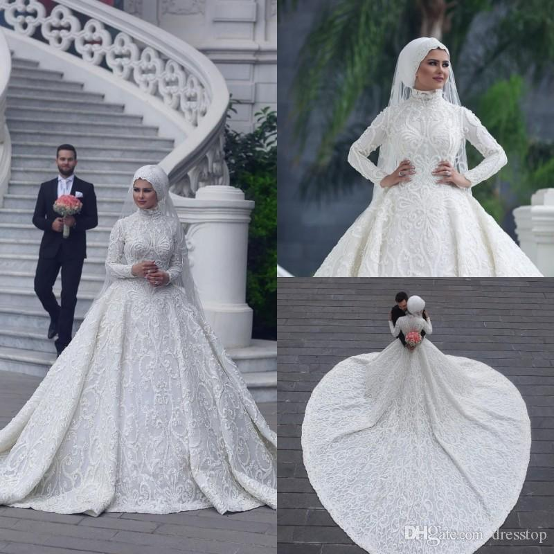 1ac4167b54b High Neck Long Sleeve Arabic Hijab Muslim Wedding Dresses 2018 Romantic  Appliques Lace White Bridal Gowns Court Train Abiti Da Sposa Custom Black  Wedding ...