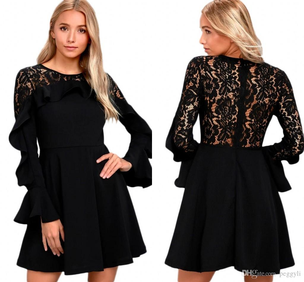 Women Black Long Flare Sleeved Skater Dress Winter New O Neck Sexy