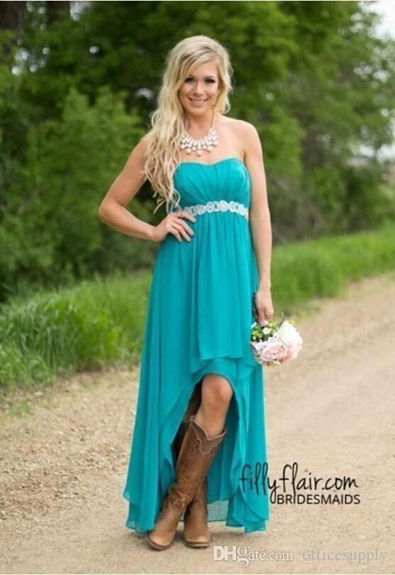 Cheap Country Bridesmaid Dresses 2018 Teal Turquoise Chiffon Sweetheart High Low Long Peplum Wedding Guest Bridesmaids Maid Honor Gowns