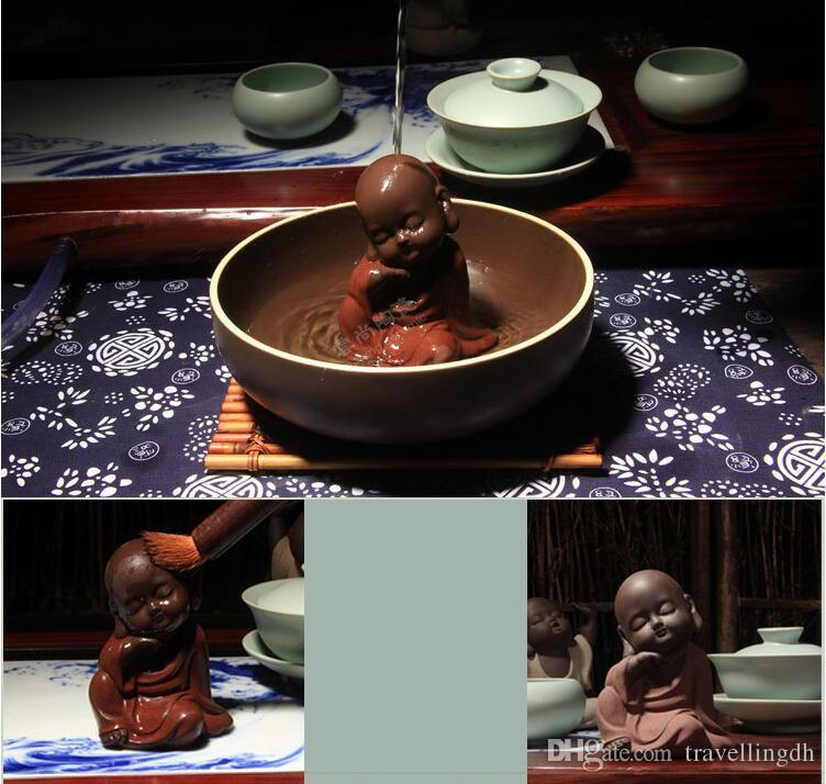 Chinese Handmade Lovely Tea Set Tea Pet Purple Sand Buddha Monk Tea Accessories Home Car Decor Zisha Pottery Ornament Decoration
