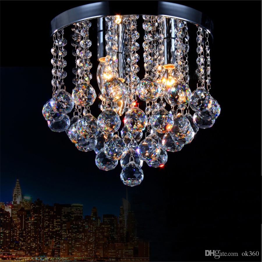 2019 crystal chandelier mini light fixture small clear crystal lustre lamp k9 ceiling lamp for aisle stair hallway corridor porch light from ok360