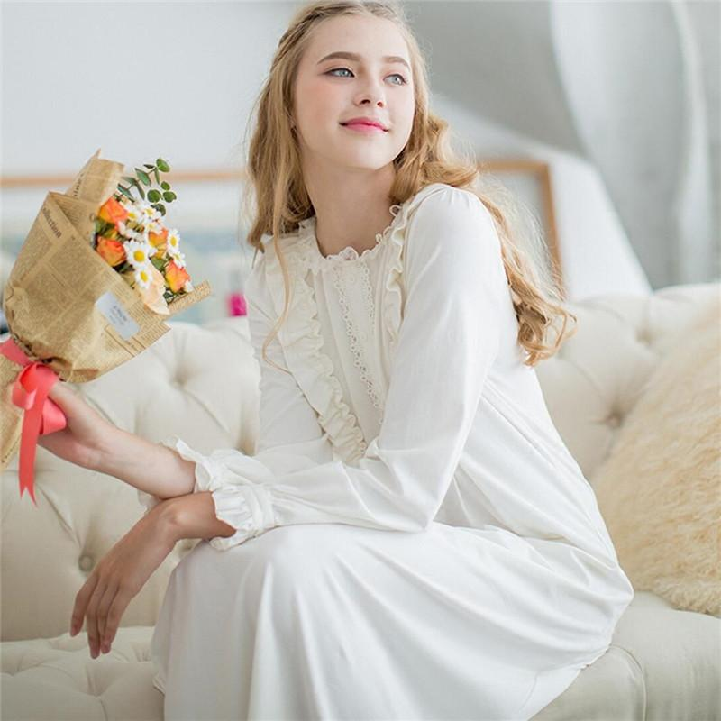9ff20cfb21f 2019 Wholesale Women Dresses Princess Cotton Long Nightgowns Lace Vintage  Romantic Sleepwear White Sweet Home Dress Plus Size Nightdress  L24 From  Roberr