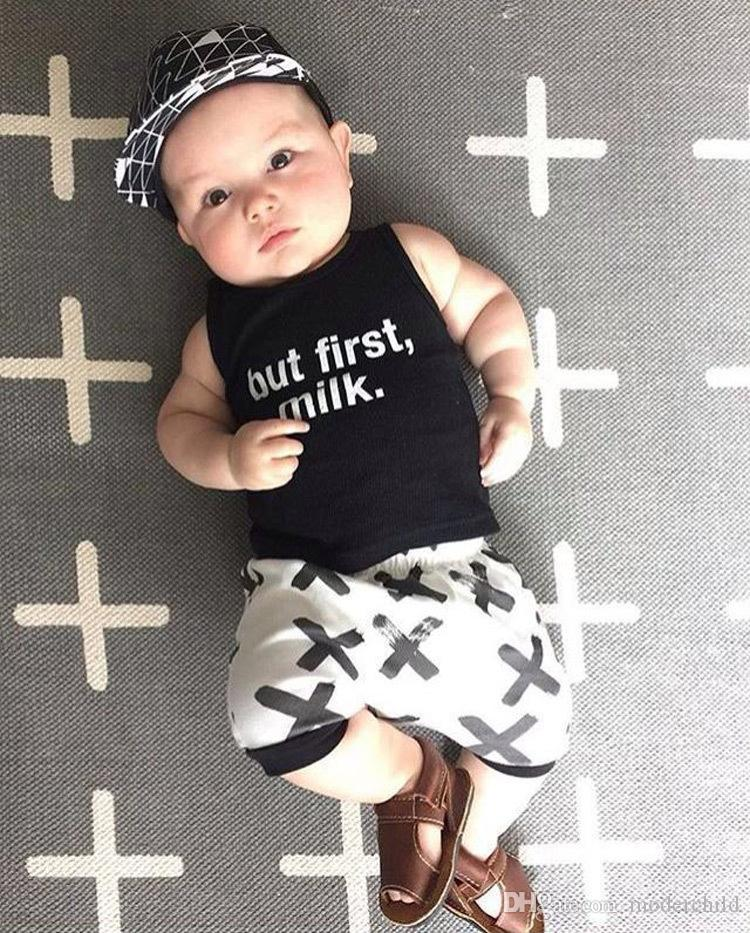 ins hot selling baby summer clothes sets infant toddlers but first milk vest top+cross print shorts kids cotton clothes sets