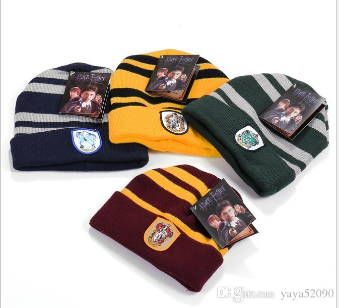 New Harry Potter Beanie Gryffindor Slytherin Skull Caps Hufflepuff Ravenclaw Cosplay Costume Caps Striped School Winter Fashion Hats