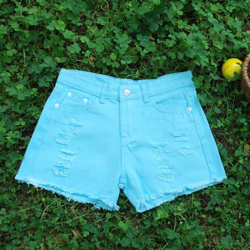 Short en jean blanc trou d'été femme coréenne lâche mince pantalon à jambe large flash code short étudiant