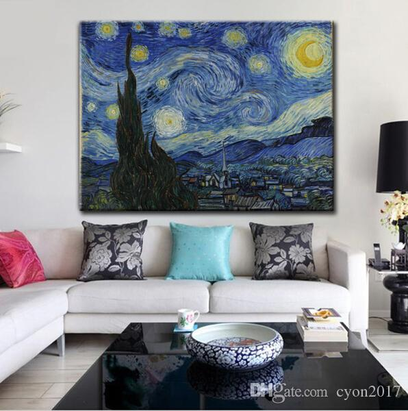 free shipping impression landscape Van Gogh star canvas prints oil painting printed on canvas wall art decoration picture