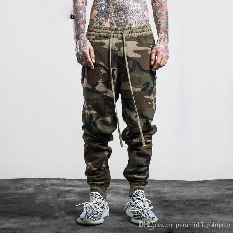 Acheter 2017 Mode Hommes Camo Pantalon Hip Hop Côté Zipper Poches Casual Joggers  Militaire Camouflage Cargo Pantalon Pantalon De Jogging De  45.69 Du ... 150e8f1b915