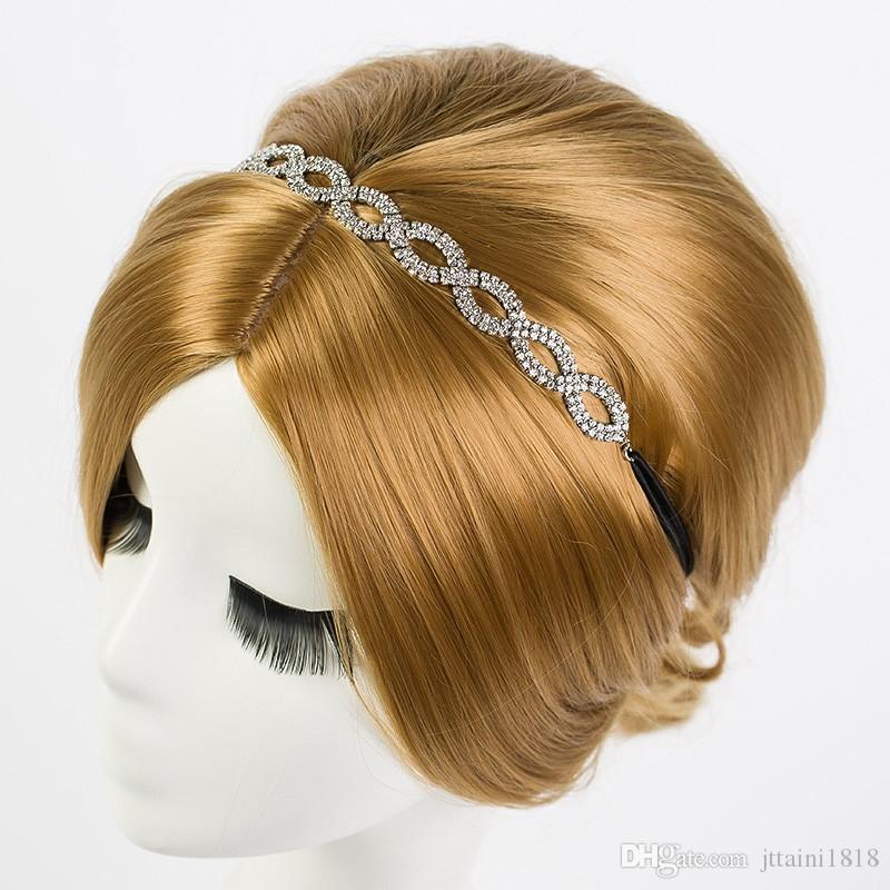 YFJEWE Kadınlar Moda Kristal Kafa Zinciri elastik Saç Bandı Kız Yaz Tarzı Saç Aksesuarları Parti Toptan Drop Shipping H040