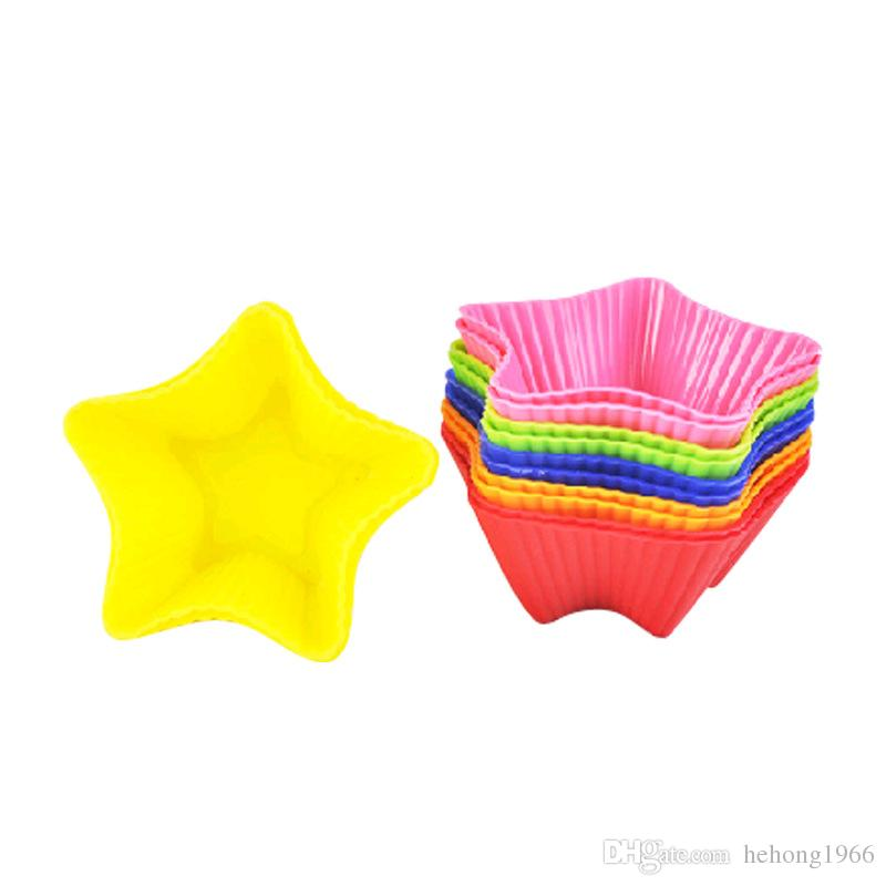Candy Color Five Pointed Star Shape Silica Gel Mold Silicone Egg Tart Bread Pudding Cake Mould Baking Tools 6 8qt C R