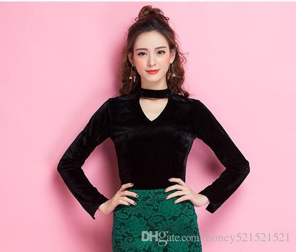Autunno nuova moda delle donne scollo a V scollo a V scava fuori manica lunga sfogo jag sexy velluto colore nero shirt top 3XL