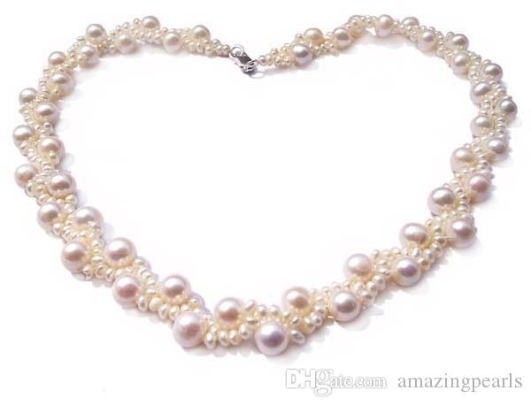 Unique 7-7.5mm and 3-3.5mm round pearls intertwined Genuine Pearl Necklace 925ss Clasp, Gift, Party, Bridal Wedding Jewelry Handmade