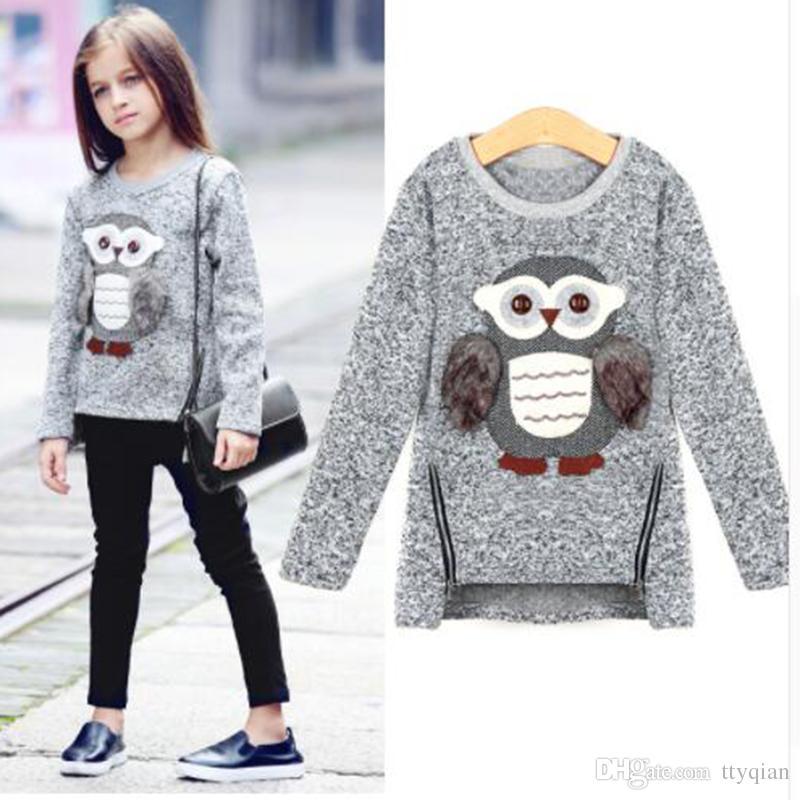 bdbc4dca9 Childern Girls Fleece Lined Zipper Pullover Sweater Cartoon Cute Owl ...