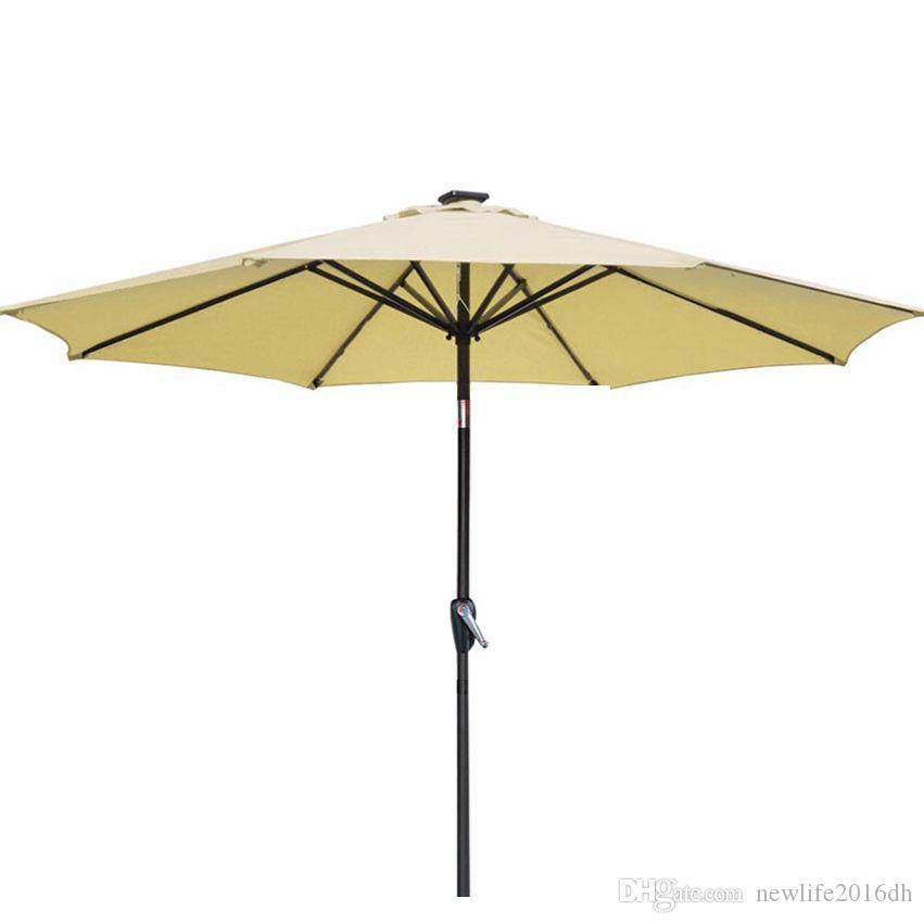 2018 Beige Patio Umbrella 9 Aluminum Patio Market Umbrella Tilt