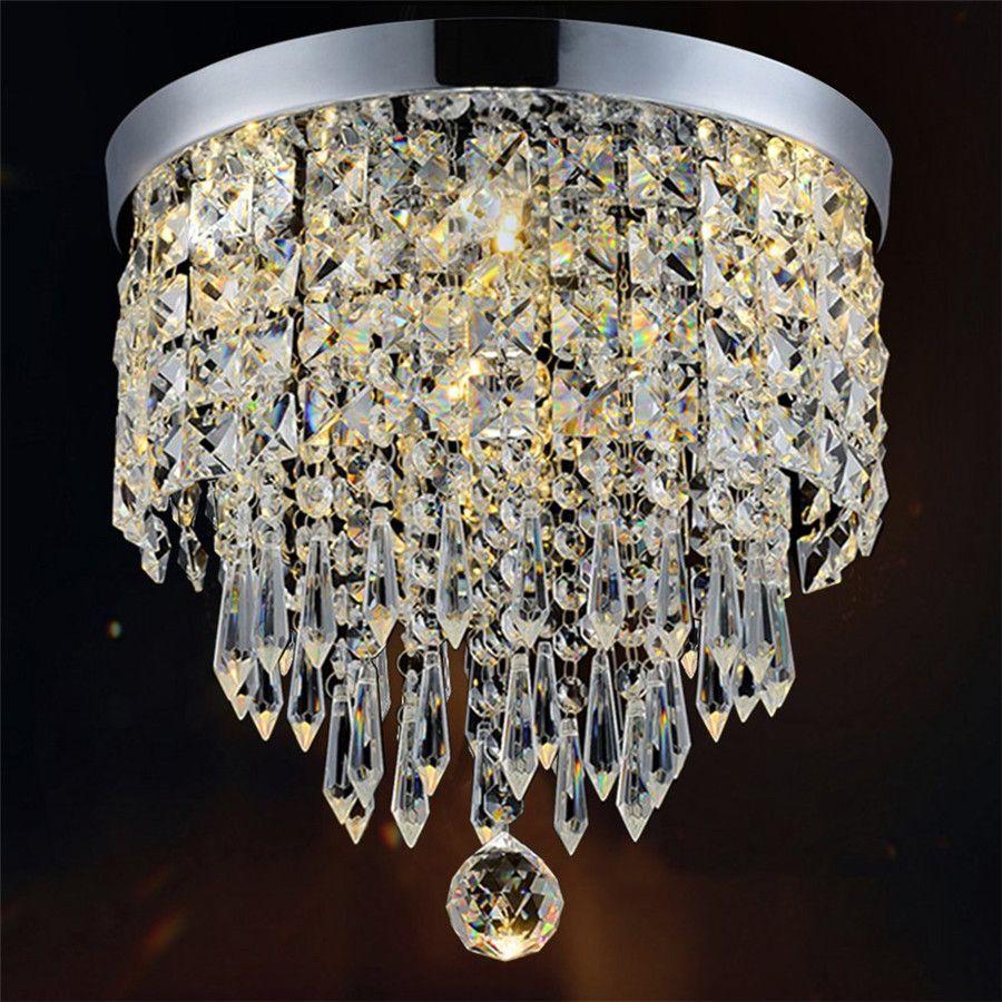 Modern crystal chandelier pendant ceiling light chrome finish crystal chandelier pendent light for hallway bedroom kitchen kids room