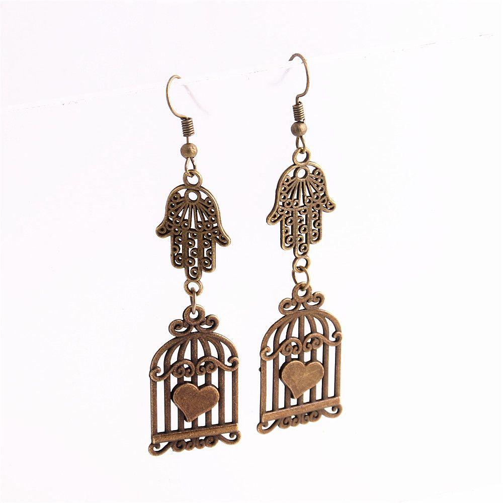 Metal Alloy Zinc Hamsa Hand Connector Bird Cage Pendant Charm Drop Earing Diy Jewelry Making C0745
