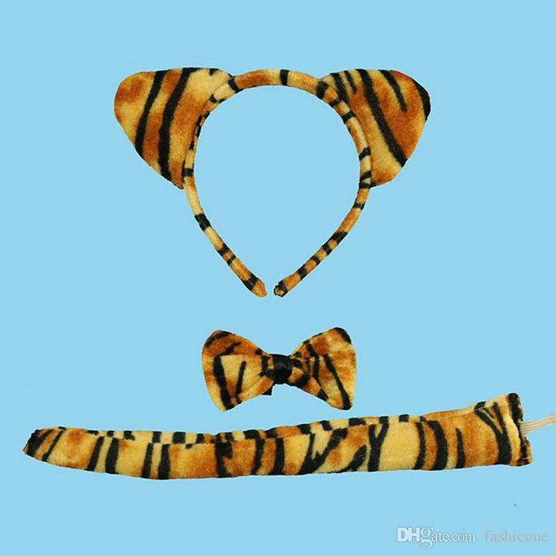 Tiger Baby Children Animal Headbands Ears Elastic Headband Hair Accessories Kids Cute Hairbands for Girls Bow Headwear
