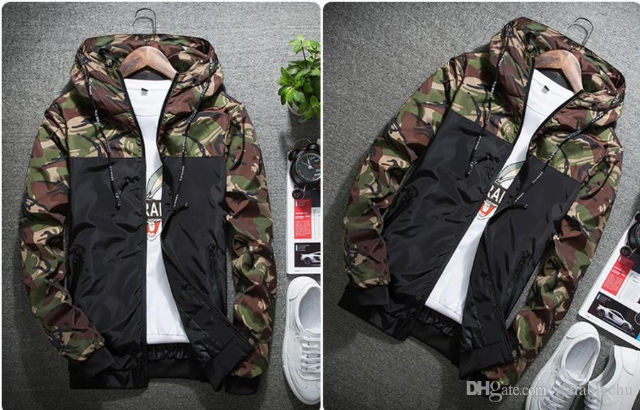 Camo Jacket Men Part Camouflage Pattern Contrast Color Hooded Waterproof Zipper Rib Long Sleeve Windproof Jacket Slim Fit For Man Free Ship