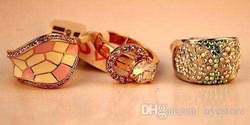 DHL mulheres por atacado 18K verdadeira banhado a ouro anéis Zircon para o estilo mulheres Áustria 5A mix de diamante anéis de novo barato boa qualidade