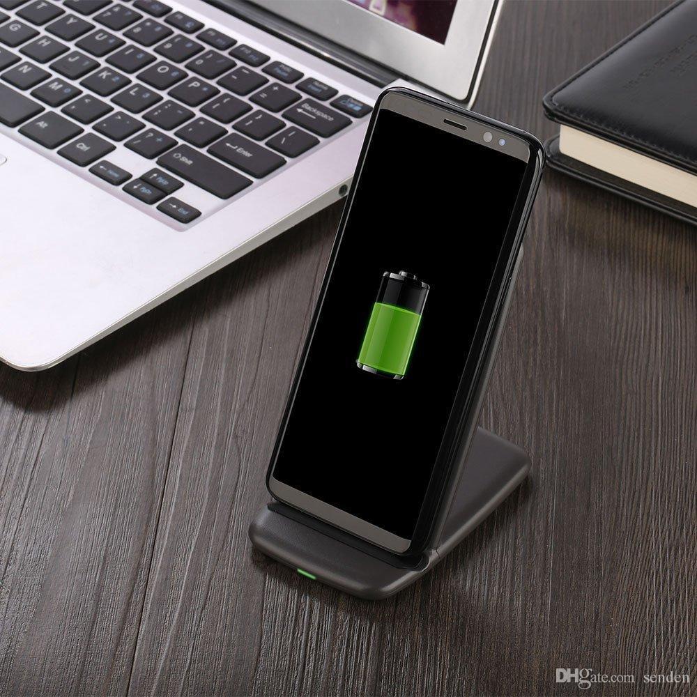 Rápido QI Cargador de teléfono inalámbrico de doble bobina Soporte de carga rápida Qi Inalámbrico Soporte de almohadilla de carga rápida para Qi habilitado Celular Galaxy S6 / S7 / S8