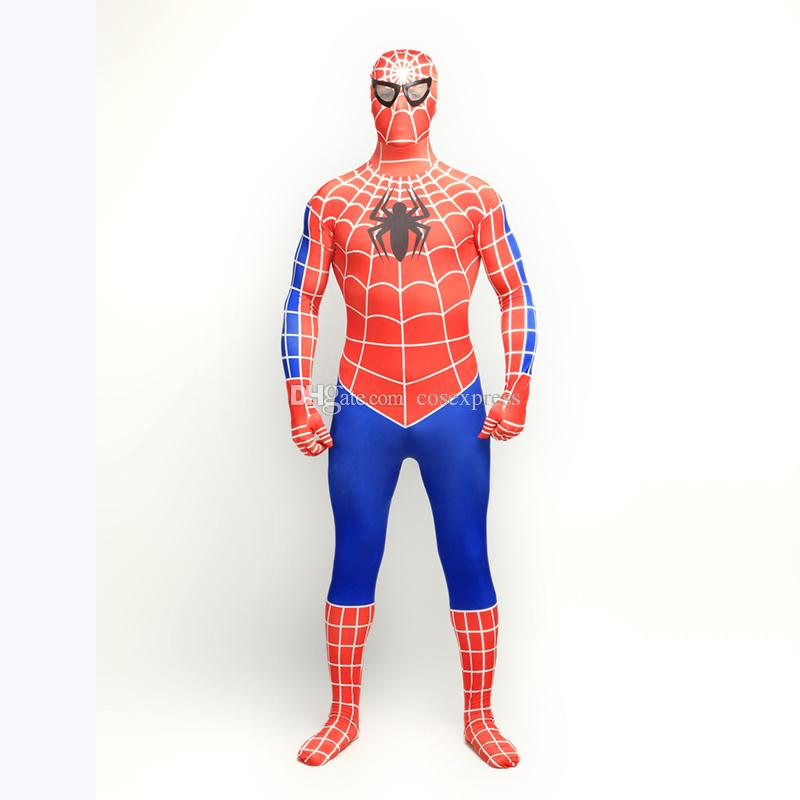 Classic 2017 Red/Blue Lycra Spandex Full body Spiderman Zentai Suit Halloween Superhero Spider-man Cosplay Costumes For 2017