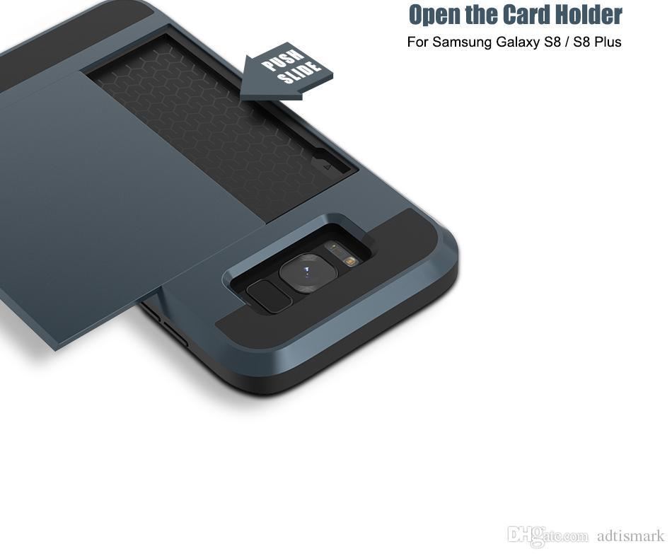 2 في 1 درع القضية لسامسونج غالاكسي s8 s8 زائد الإنزلاق الغلاف الخلفي فتحة بطاقة الداخلية لسامسونج غالاكسي s8 غطاء الهاتف كوكه