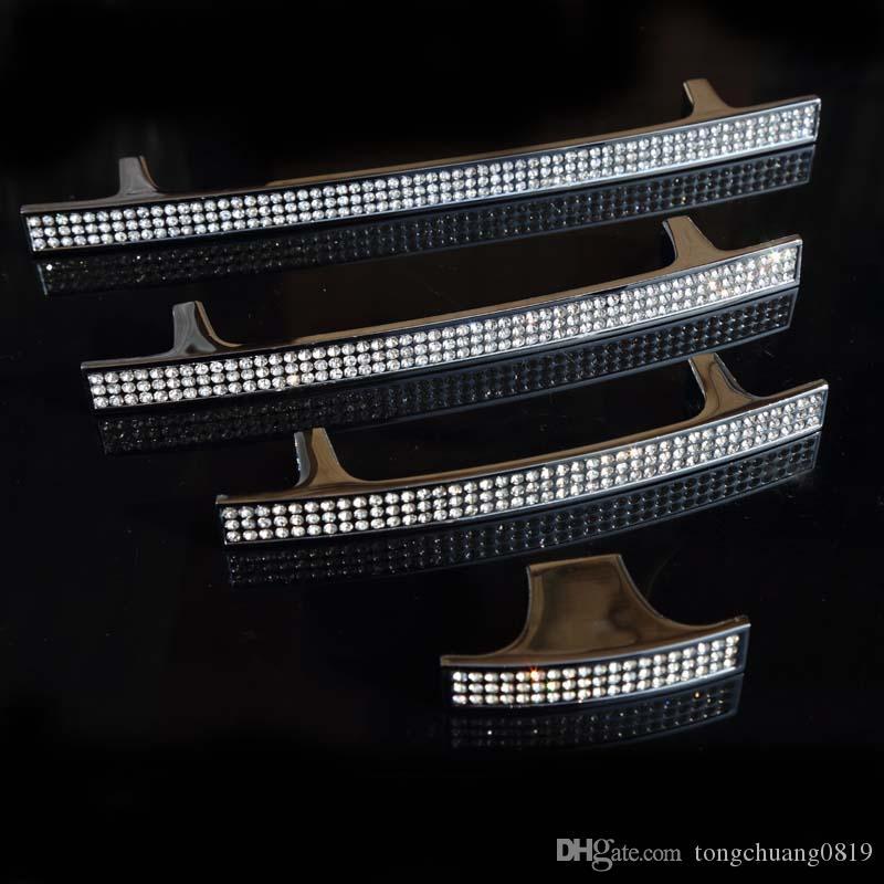 160mm moda deluxe strass armadio armadio da cucina porta maniglie argento vetro cristallo libreria cassetto manopole tira 128mm 5