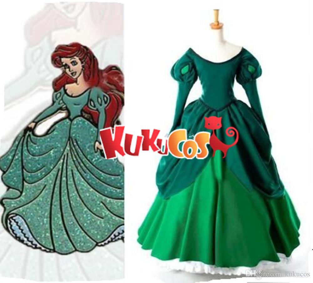 937a6ab746d7c Kukucos Little Mermaid Princess Ariel Green Fancy Dress Cosplay Costume  Ball Dance Dress Best Gift For Party