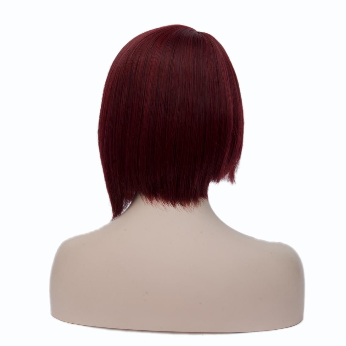 Wine Red Asymmetrical Bob Short Wigs Straight High Temperature Fiber Synthetic Hair For Black Women