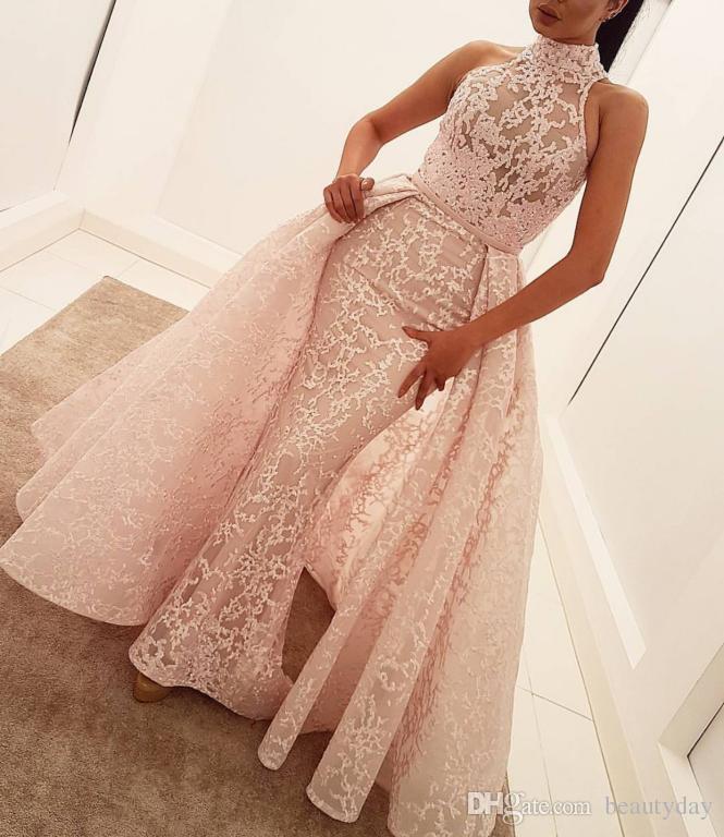 Formale Abendkleider tragen lange Party Prom Gowns Yousef Aljasmi Labourjoisie Überschneidungen Pageant Celebrity Kleider Arabisch Rosa Spitze