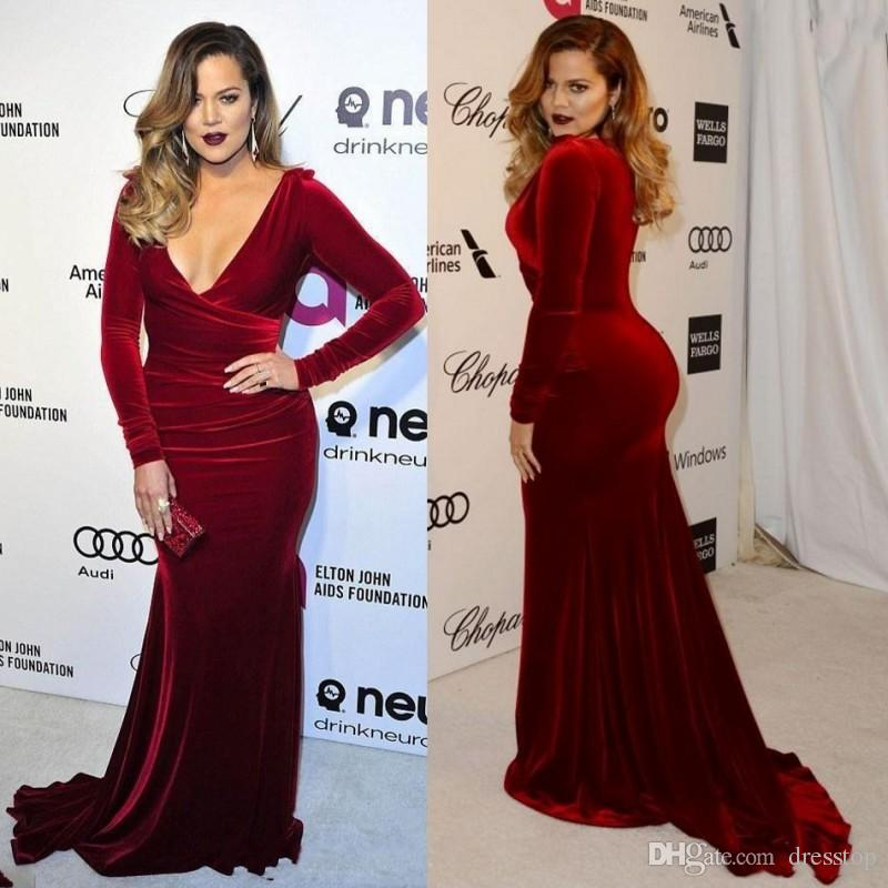 Plus Size Prom Dresses Burgundy V Neck Long Sleeves Custom Dress