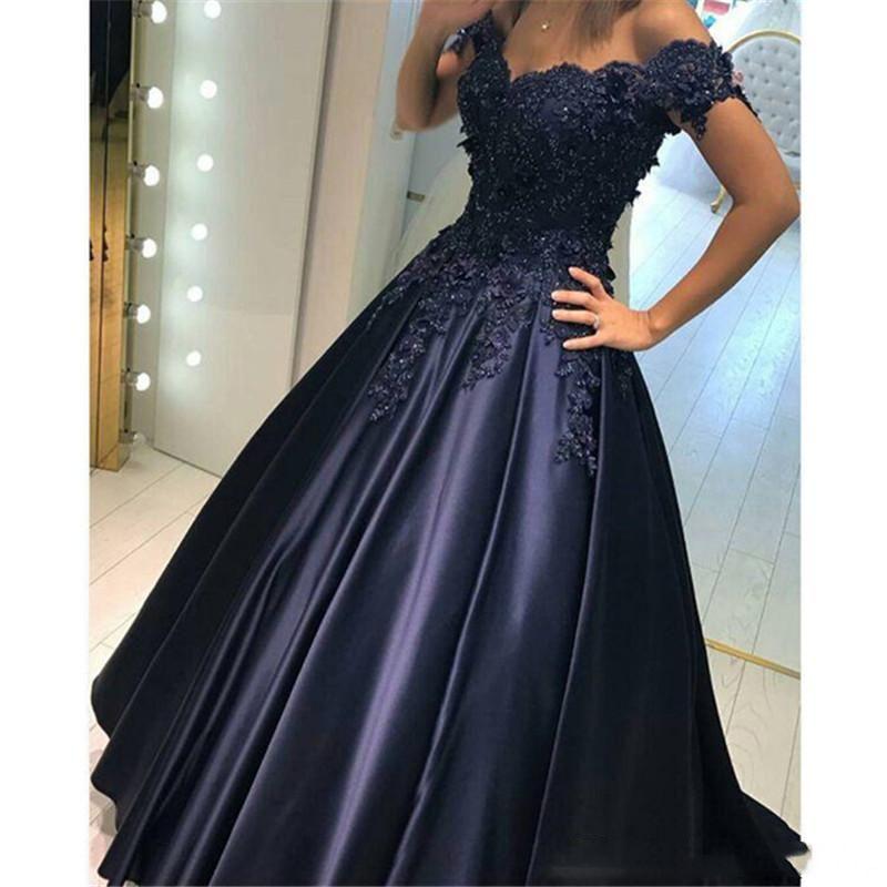 Ball Gown Navy Blue Arabic Wedding