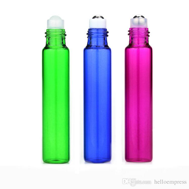 Hot SS металлический роликовый ролик косметический пополненный 10 мл 1/3 унций красочные стеклянные рулоны на бутылке эфирные масляные ароматы роликовые шариковые бутылки пластырь фрей