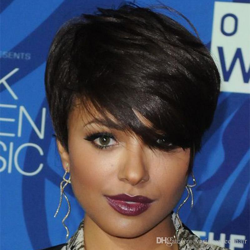 Lace Front Straight Human Hair Wigs Cheap Short Pixie Cut Wigs With