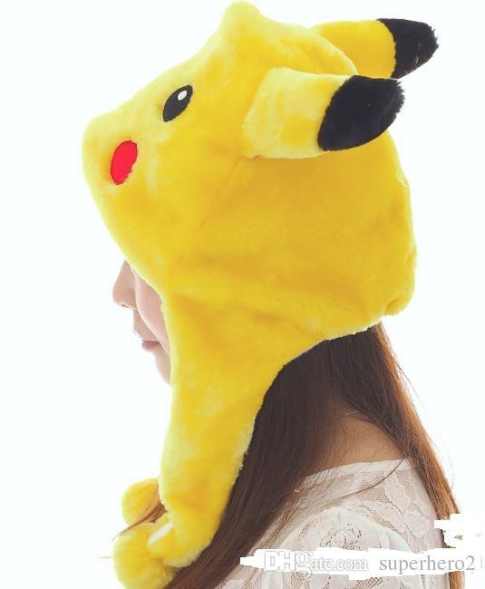 Anime Pikachu Fantaisie Costume Plus Chaud Chapeau Bonnet Unisexe adulte enfants Fluffy En Peluche Chaud de bande dessinée Cap Écharpe Cosplay les accessoires de performance cadeau cadeau de Noël