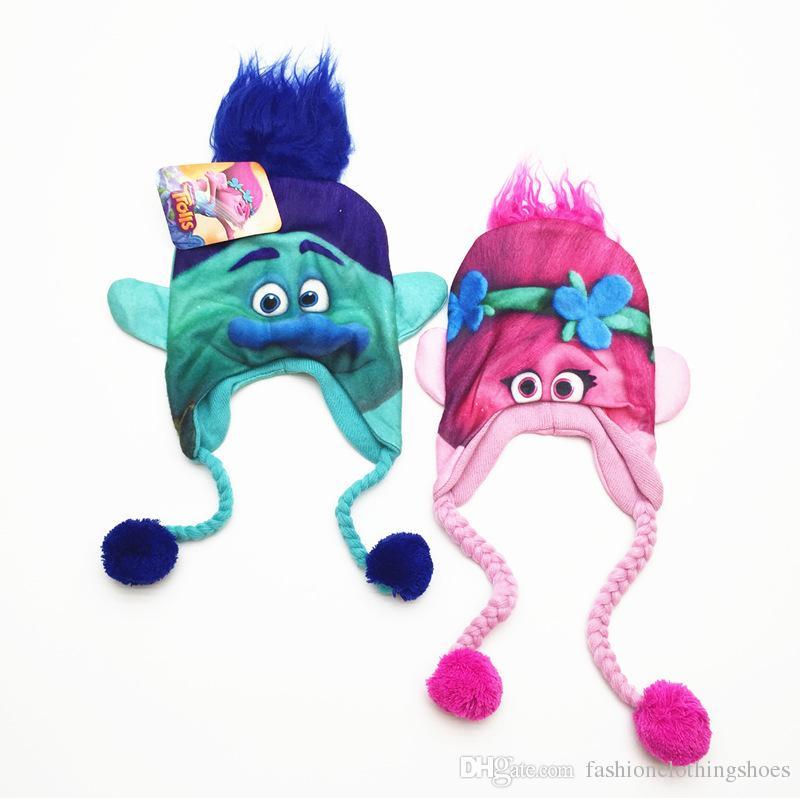 Hot Sale cartoon Trolls Poppy Branch winter hats trolls Cup costume boys girls Bomber Hats for 6-12 years old