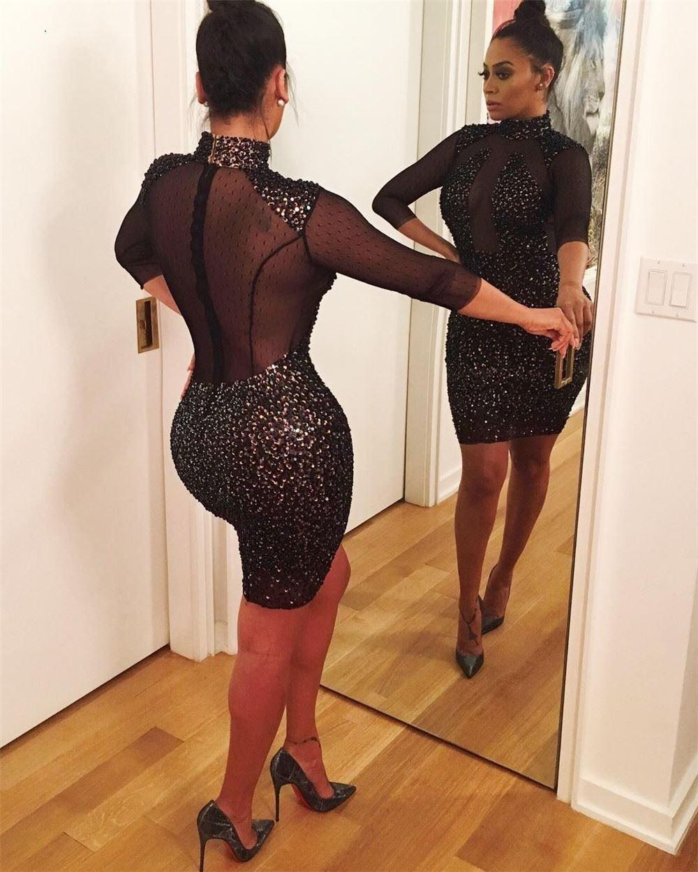 in see through Black dresses women