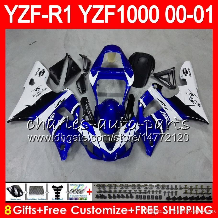 Kroppsarbete för Yamaha YZF1000 YZFR1 00 01 98 99 YZF-R1000 Body 74HM12 Blue White YZF 1000 R 1 YZF-R1 YZF R1 2000 2001 1998 1999 Fairing Kit